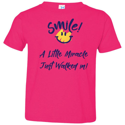 SMILE! A Little Miracle Just Walked In Kids Tops-T-Shirts-Hot Pink-2T-The Miracles Store