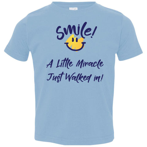 SMILE! A Little Miracle Just Walked In Kids Tops-T-Shirts-Light Blue-2T-The Miracles Store