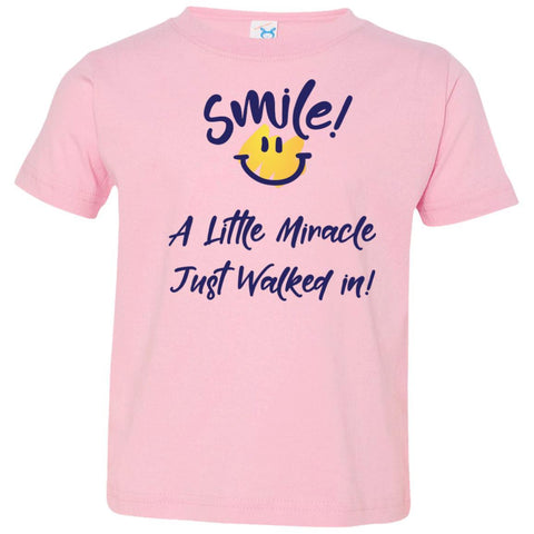 SMILE! A Little Miracle Just Walked In Kids Tops-T-Shirts-Pink-2T-The Miracles Store