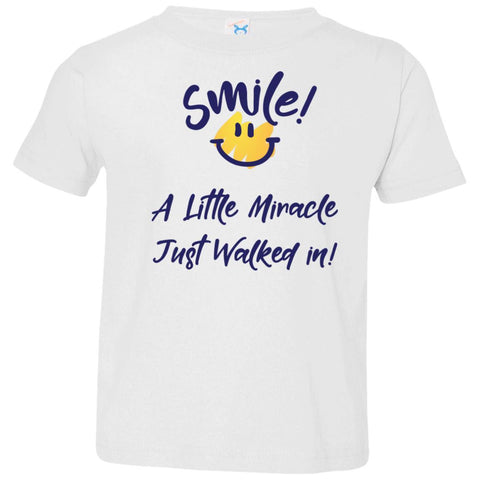 SMILE! A Little Miracle Just Walked In Kids Tops-T-Shirts-White-2T-The Miracles Store