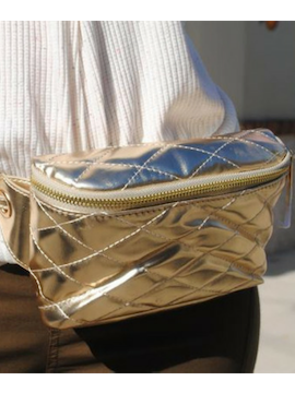 Gold Leather Belt Bag - Summertime Boutique