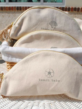 Shell Canvas Cosmetic Clutch - Summertime Boutique