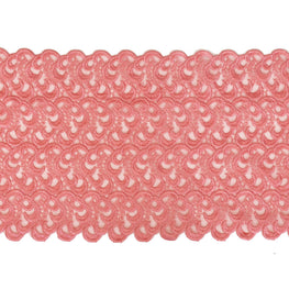 Floral Solid Lace Trim - Coral Red - 7""