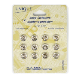12 pairs Snap Fasteners - Silver (9mm)