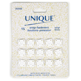 15 pairs Snap Fasteners in Square - White (9mm)