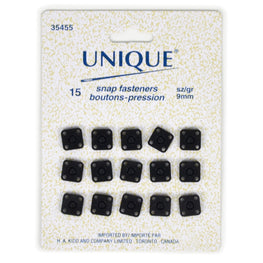 15 pairs Snap Fasteners in Square - Black (9mm)