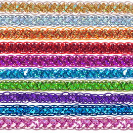 "0.25"" Sequins Braided Hologram Trim - Orange"