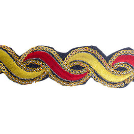 "1.2"" or 1.9"" Twist Sequin Trims - Yellow/Red"