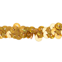 "0.25"" Stretchy Sequins Single Row Hologram Trim - Gold"