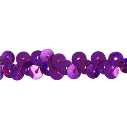 "0.25"" Stretchy Sequins Single Row Hologram Trim - Purple"