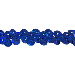 "0.25"" Stretchy Sequins Single Row Hologram Trim - Royal Blue"