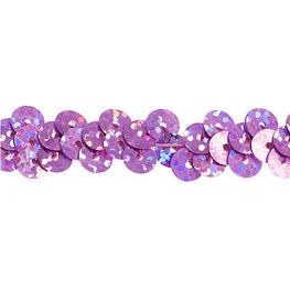 "0.25"" Stretchy Sequins Single Row Hologram Trim - Pink"