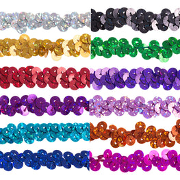 "0.25"" Stretchy Sequins Single Row Hologram Trim - Dark Purple"