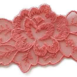 "2"" Floral Lace Trim - Coral Red"