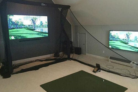 net return home in basement golf package with tv screen