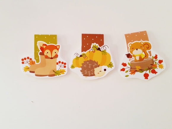 Autumn pals magnetic bookmarks set