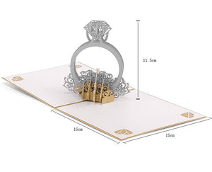 Handmade 3D Pop-up Diamond Ring Greeting Card
