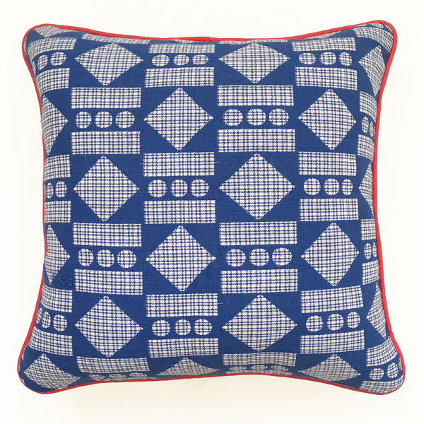 Large Aztec Kente Cushion —  blue/red
