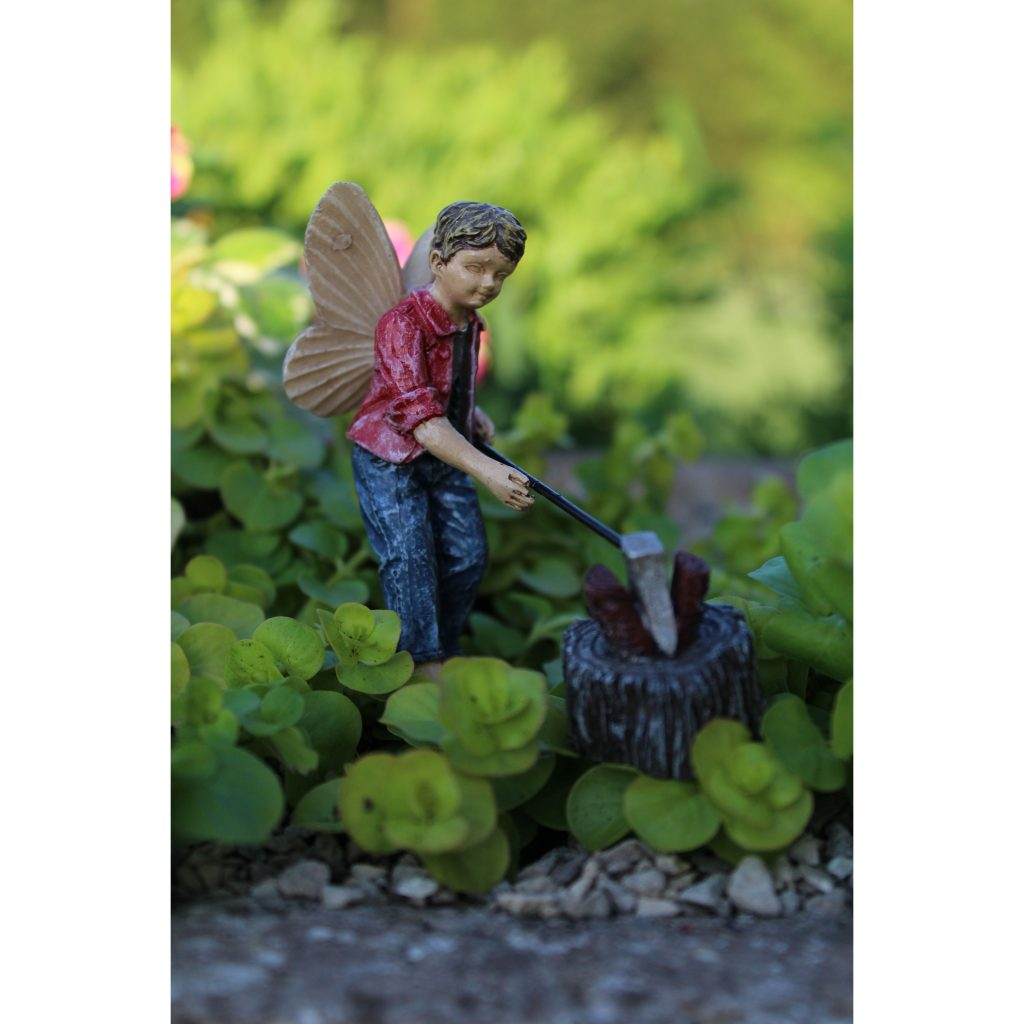 Fairy Garden Fairy Huck with axe and log Statue Miniature