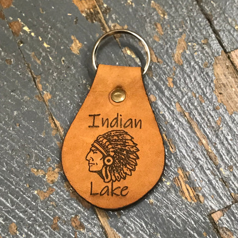 Engraved Leather Key Chain Fob Indian Lake Indian Head Tan