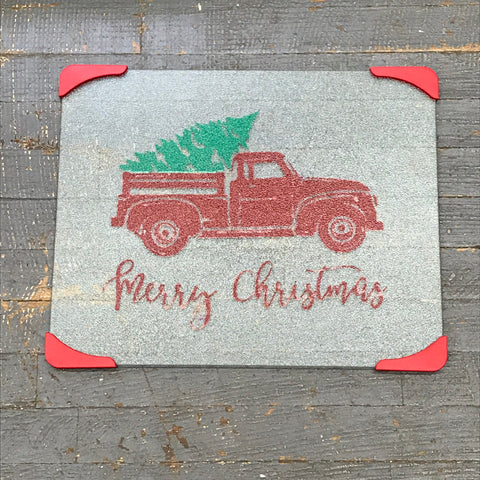 Cutting Board Glass Vinyled Merry Christmas Red Pick Up Truck