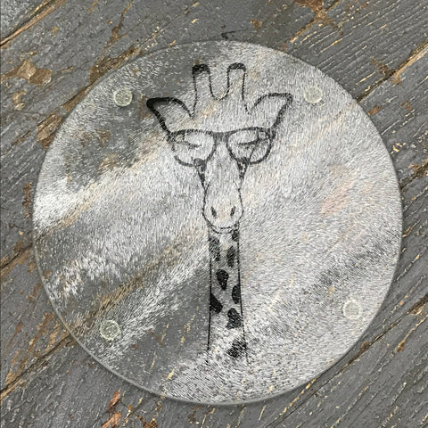 "Cutting Board Trivet 7.75"" Round Glass Vinyled Giraffe Animal"