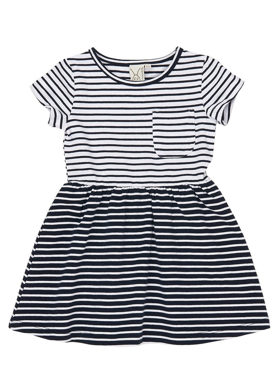 Girls 2pcs yarn dye stripe jersey short sleeve empire dress/tunic with capri