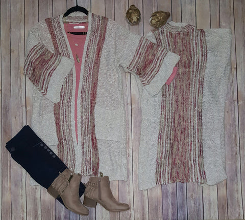 Boho knit open cardigan sweater