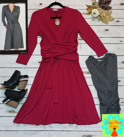 3/4 sleeve dress with waist tie