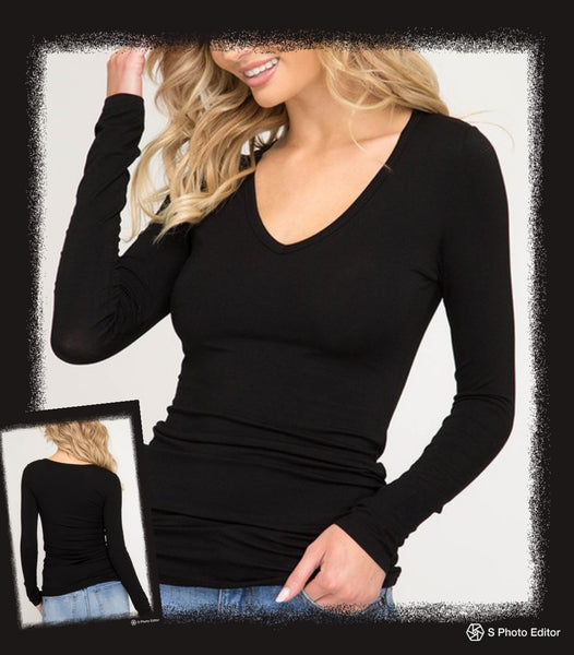 Long sleeve solid fitted V neck