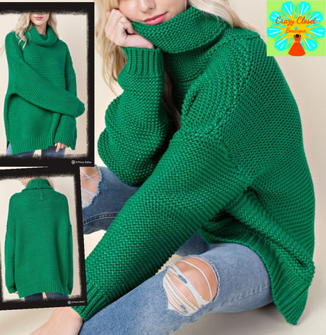 Turtleneck loose fit chunky sweater