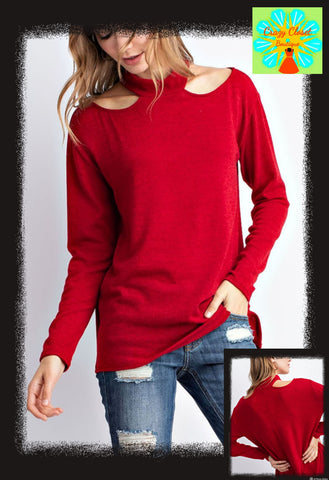 Shoulder cut out sweater knit top