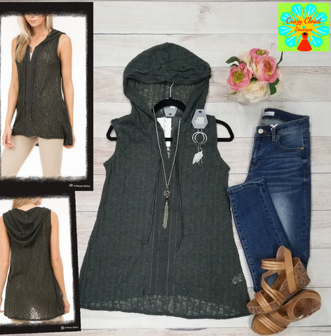 Sleeveless sweater knit hoodie