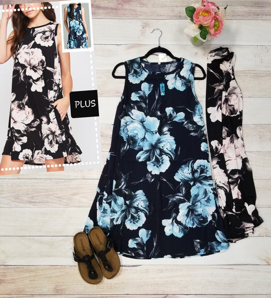 Plus floral swing dress