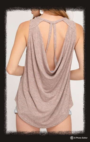 Sleeveless knot top with open back and strappy detail