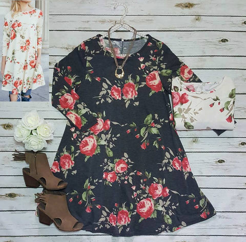 3/4 sleeve french terry floral swing dress