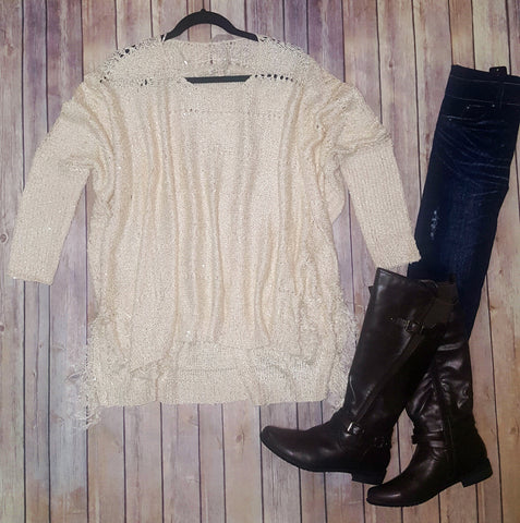 One Size Taupe Fringe Poncho Sweater