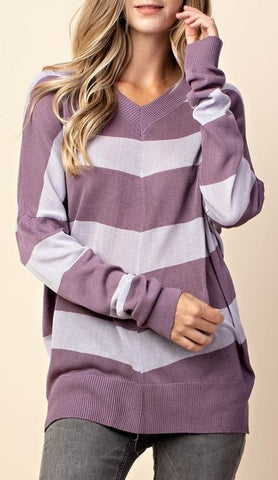 Color block v neck lightweight knit sweater