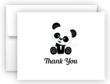 Panda Bear f Printed Thank You Cards • Folded Flat Note Card Stationery