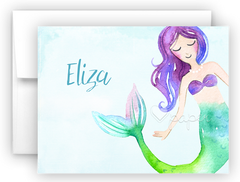 Mermaid m Thank You Cards Note Card Stationery •  Flat, Folded or Fill-In-the-Blank Stationery Thank You Cards - Everything Nice
