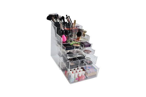 "Clear Acrylic Makeup Organizer ""GlitzBox"" Brush and Lipstick Holder Crystal Knobs Vanity Drawer Cosmetic Storage"