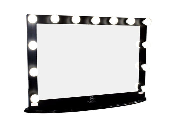 Hollywood Makeup Vanity Mirror XL Black with Dimmer, Tabletop or Wall Mounted Vanity, LED Bulbs Included