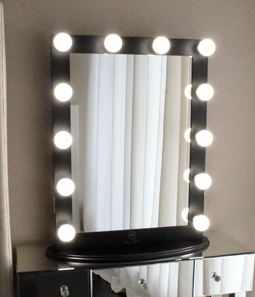 Hollywood Makeup Vanity Mirror Black with Dimmer, Tabletop or Wall Mounted Vanity, LED Bulbs Included