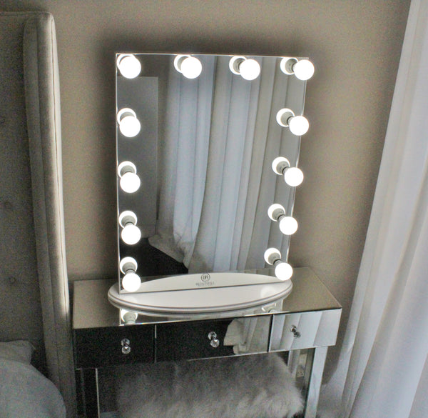 Hollywood Makeup Vanity Mirror All Glass with Dimmer, Tabletop or Wall Mounted Vanity, LED Bulbs Included