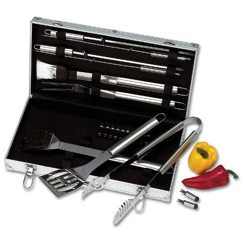 Chefmaster KTBQSS22 22 Piece Stainless Barbeque Set with Aluminum Storage Case - House Home & Office - Fits My Budget