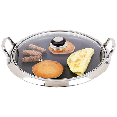 Chefs Secret Stainless Steel Round Non-Stick Griddle KTGRID2G - House Home & Office - Fits My Budget