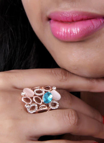Beautiful Rose Gold Ring With Vintage Swarovski Oval Cabochan Glass Stones