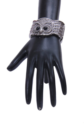 Openable Oxidized Silver-Plated & Black Owl-Shaped Bracelet