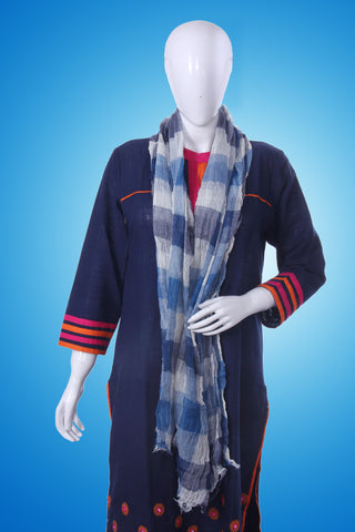 Bedazzle Blue Checkered Scarf