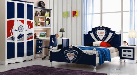 5 Pcs Loft Kids  Bedroom Set With Storage Table And Chair Wood Kindergarten Furniture -Blue Theme
